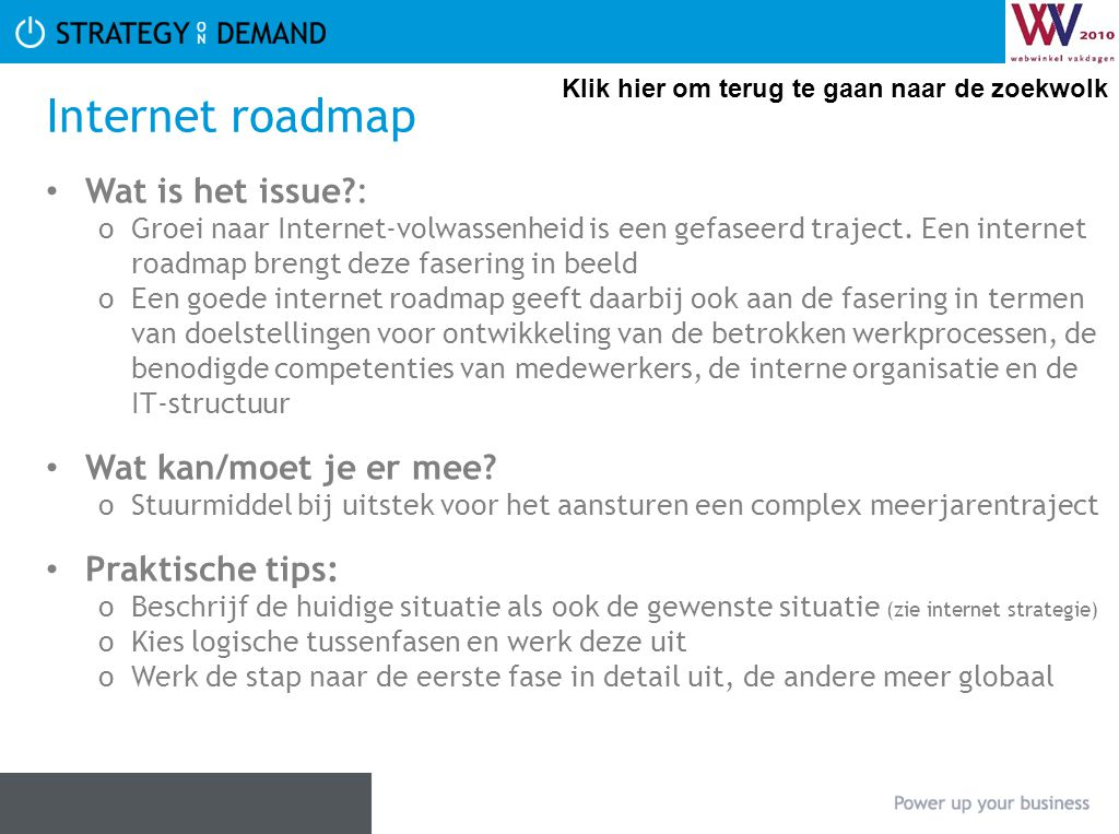 Internet roadmap Wat is het issue : Wat kan/moet je er mee