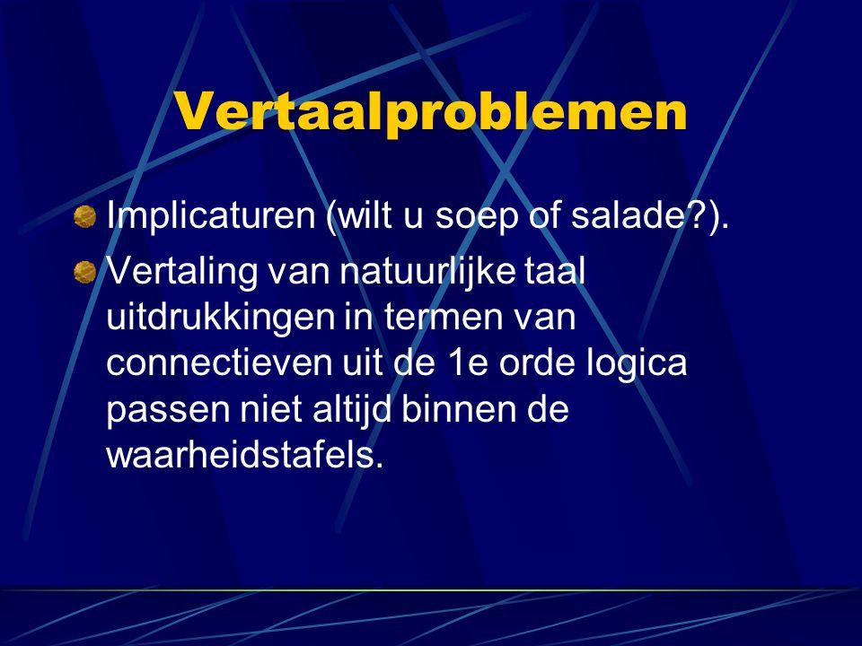 Vertaalproblemen Implicaturen (wilt u soep of salade ).