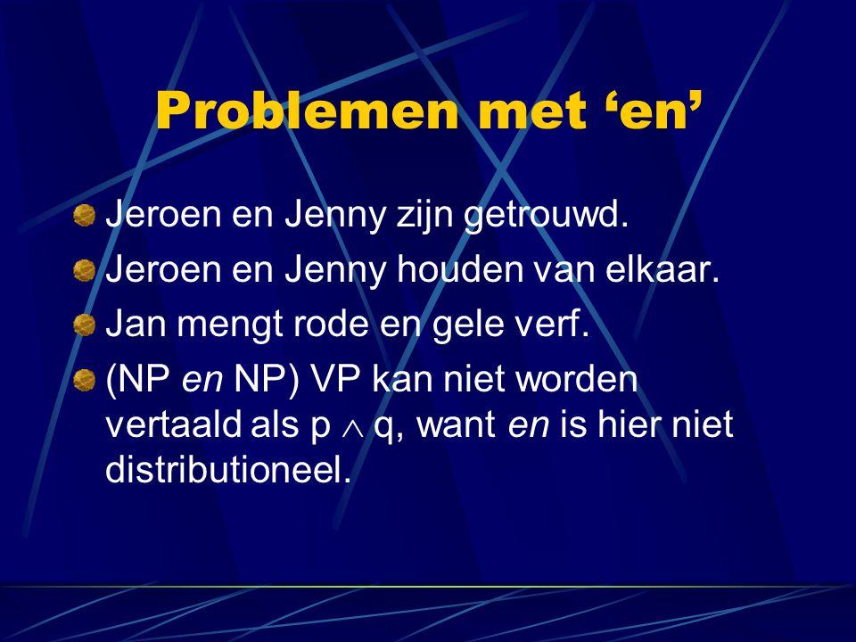 Problemen met 'en' Jeroen en Jenny zijn getrouwd.
