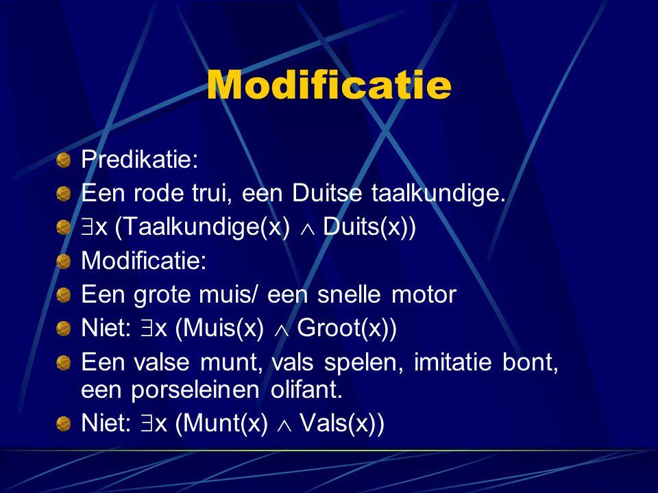 Modificatie Predikatie: Een rode trui, een Duitse taalkundige.