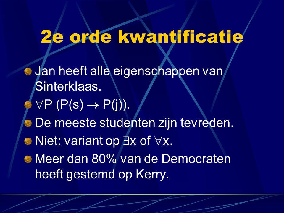 2e orde kwantificatie Jan heeft alle eigenschappen van Sinterklaas.