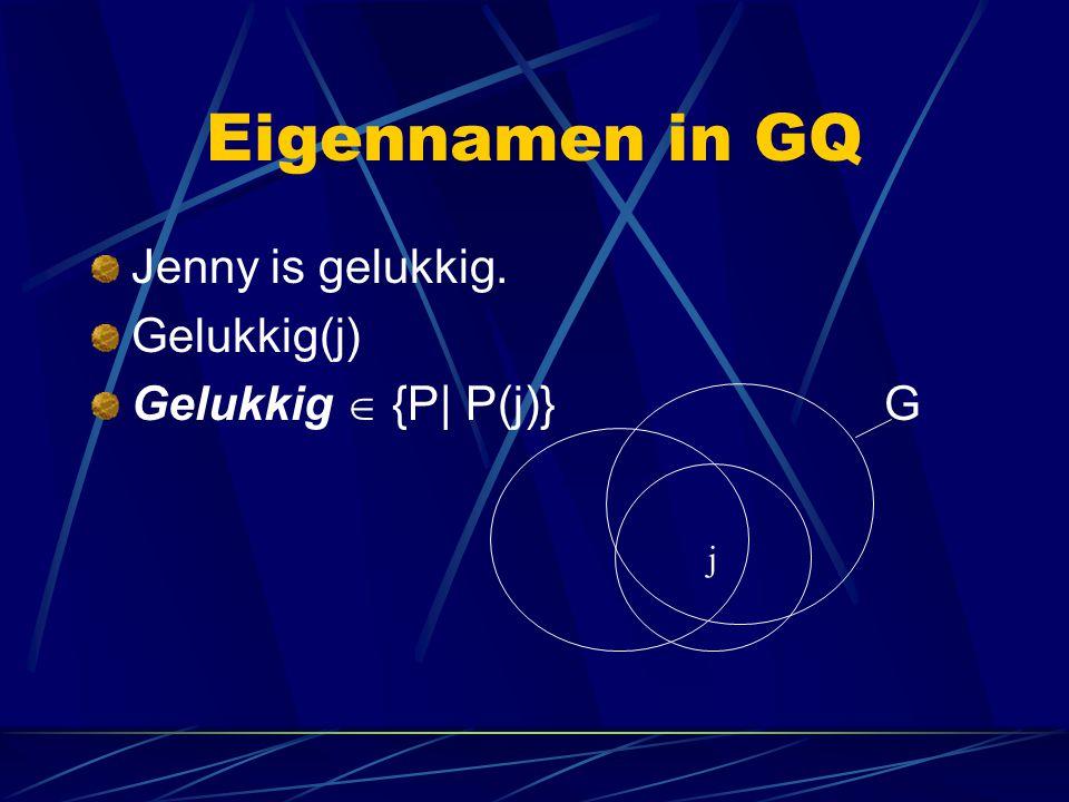 Eigennamen in GQ Jenny is gelukkig. Gelukkig(j) Gelukkig  {P| P(j)} G