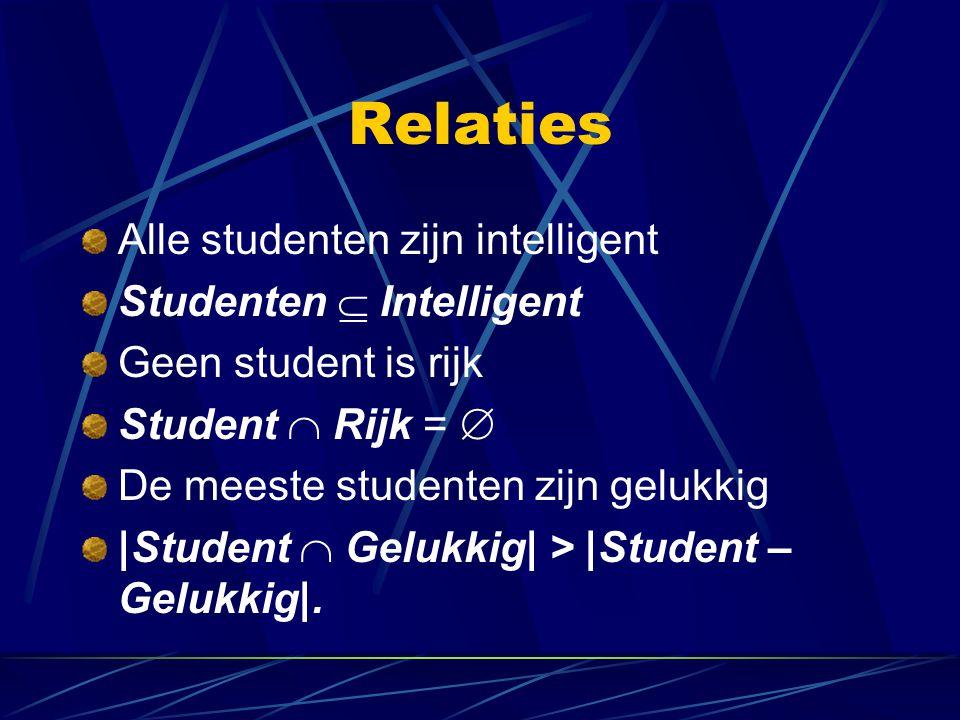 Relaties Alle studenten zijn intelligent Studenten  Intelligent