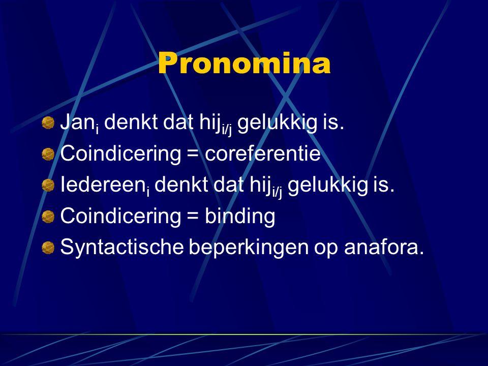 Pronomina Jani denkt dat hiji/j gelukkig is.