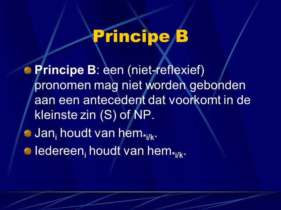 Principe B Principe B: een (niet-reflexief) pronomen mag niet worden gebonden aan een antecedent dat voorkomt in de kleinste zin (S) of NP.