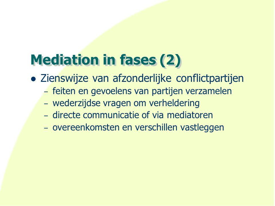 Mediation in fases (2) Zienswijze van afzonderlijke conflictpartijen