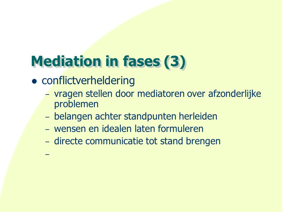 Mediation in fases (3) conflictverheldering