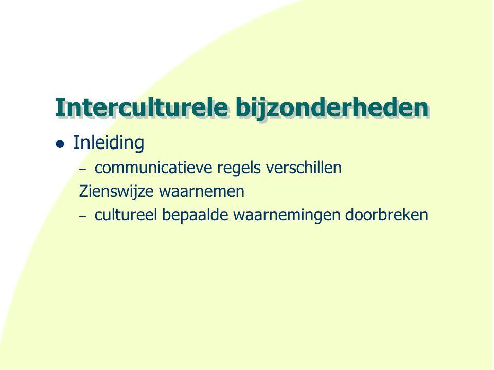 Interculturele bijzonderheden