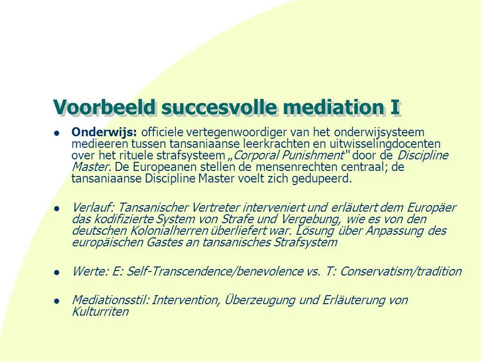 Voorbeeld succesvolle mediation I