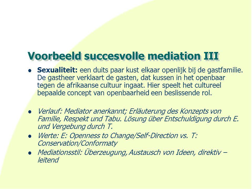 Voorbeeld succesvolle mediation III