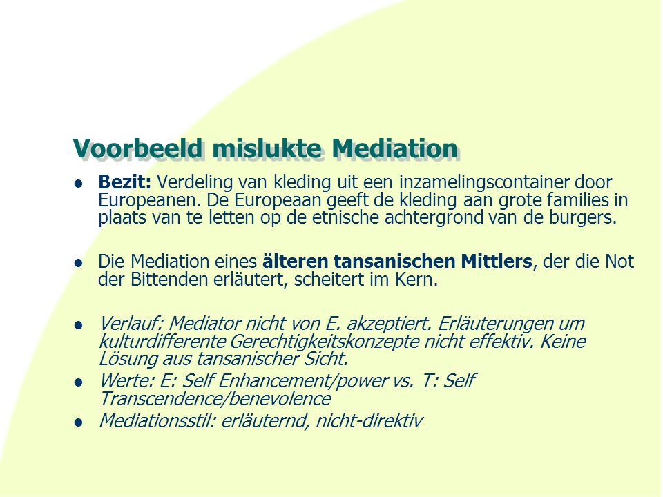 Voorbeeld mislukte Mediation