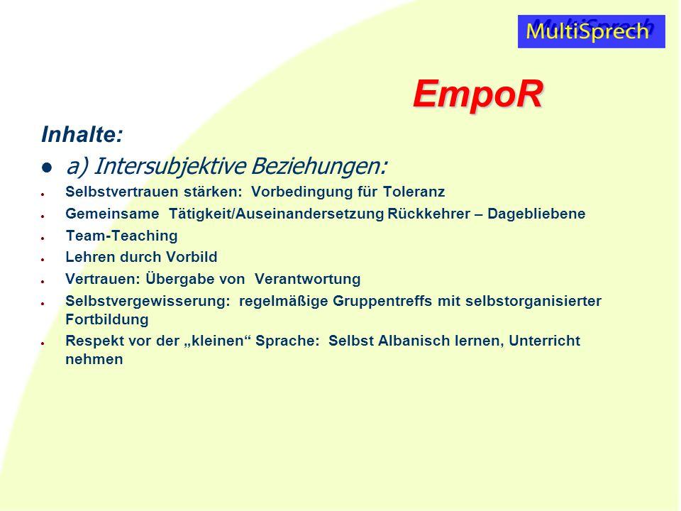EmpoR Inhalte: a) Intersubjektive Beziehungen: