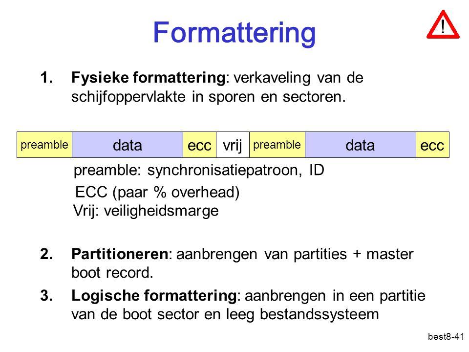 Formattering Fysieke formattering: verkaveling van de schijfoppervlakte in sporen en sectoren.