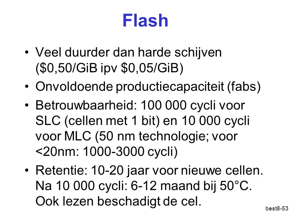 Flash Veel duurder dan harde schijven ($0,50/GiB ipv $0,05/GiB)