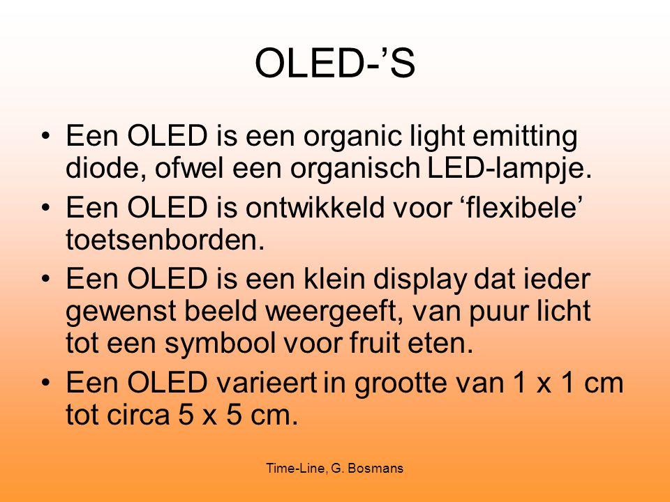 OLED-'S Een OLED is een organic light emitting diode, ofwel een organisch LED-lampje. Een OLED is ontwikkeld voor 'flexibele' toetsenborden.