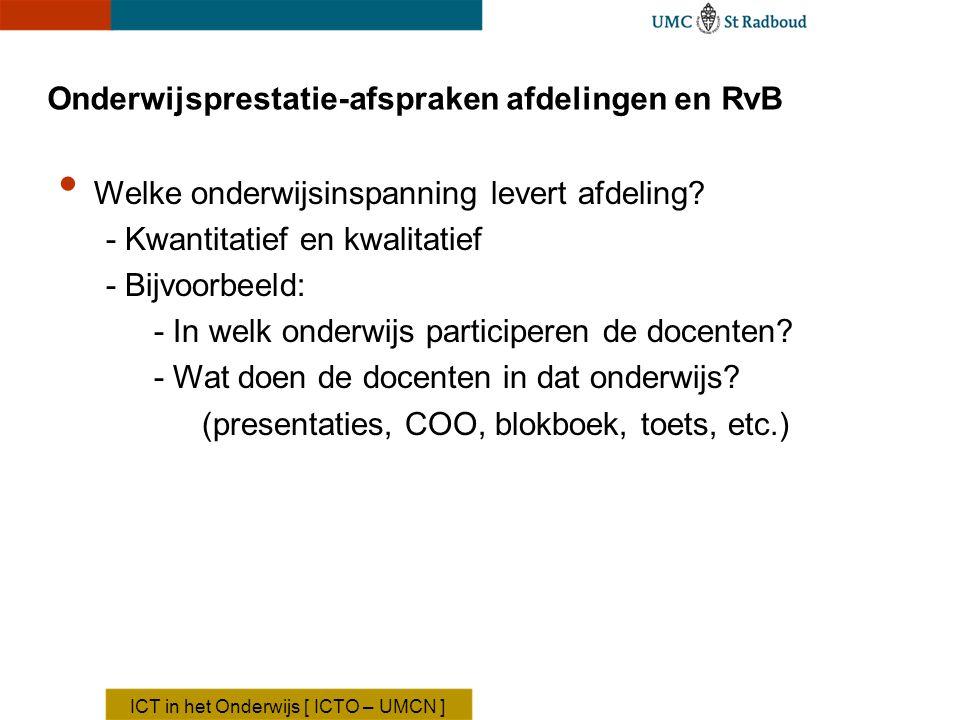Onderwijsprestatie-afspraken afdelingen en RvB