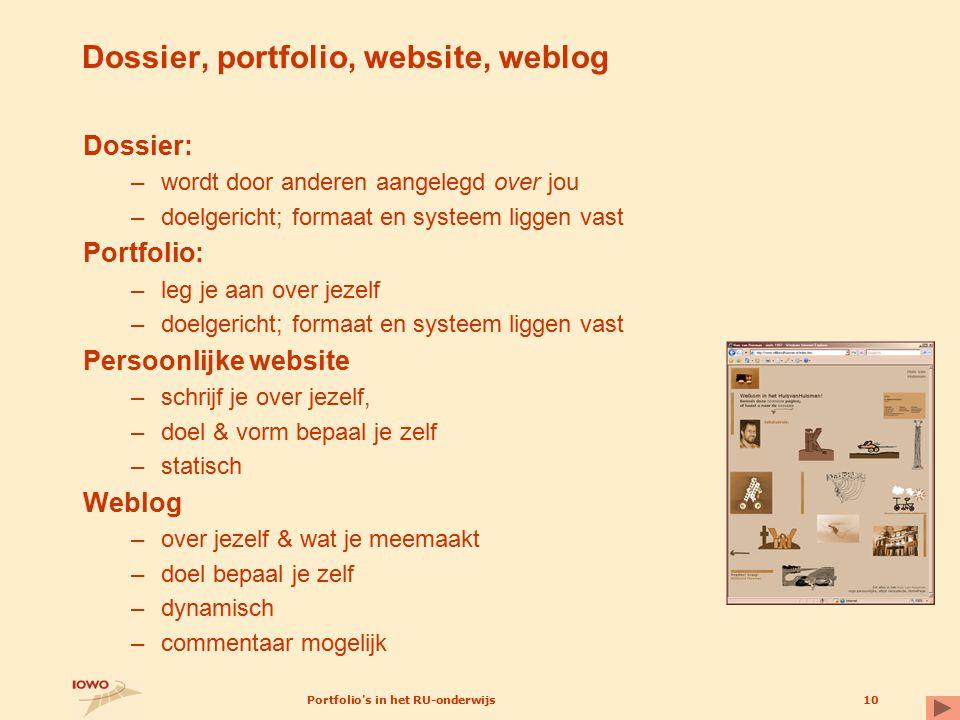 Dossier, portfolio, website, weblog