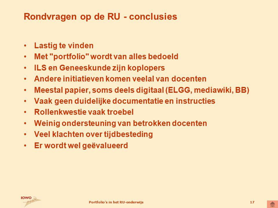 Rondvragen op de RU - conclusies