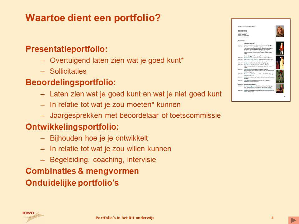 Waartoe dient een portfolio