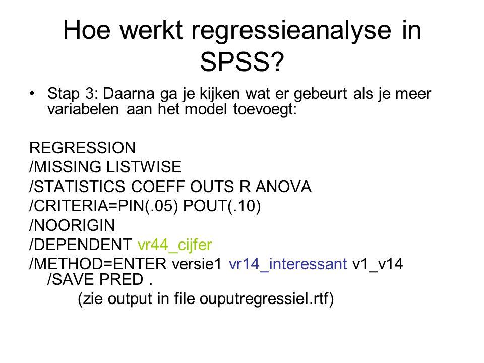Hoe werkt regressieanalyse in SPSS