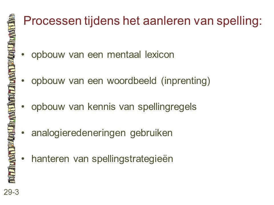 Processen tijdens het aanleren van spelling: