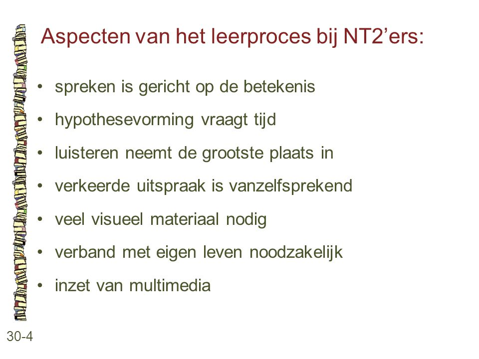 Aspecten van het leerproces bij NT2'ers: