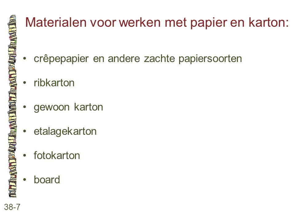 Materialen voor werken met papier en karton: