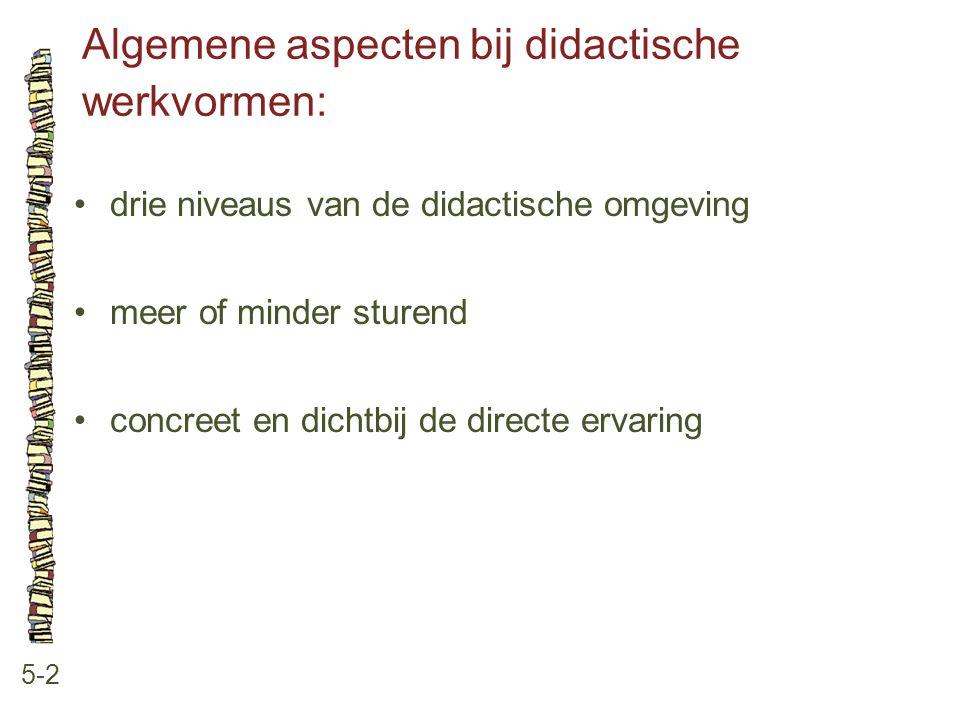 Algemene aspecten bij didactische werkvormen: