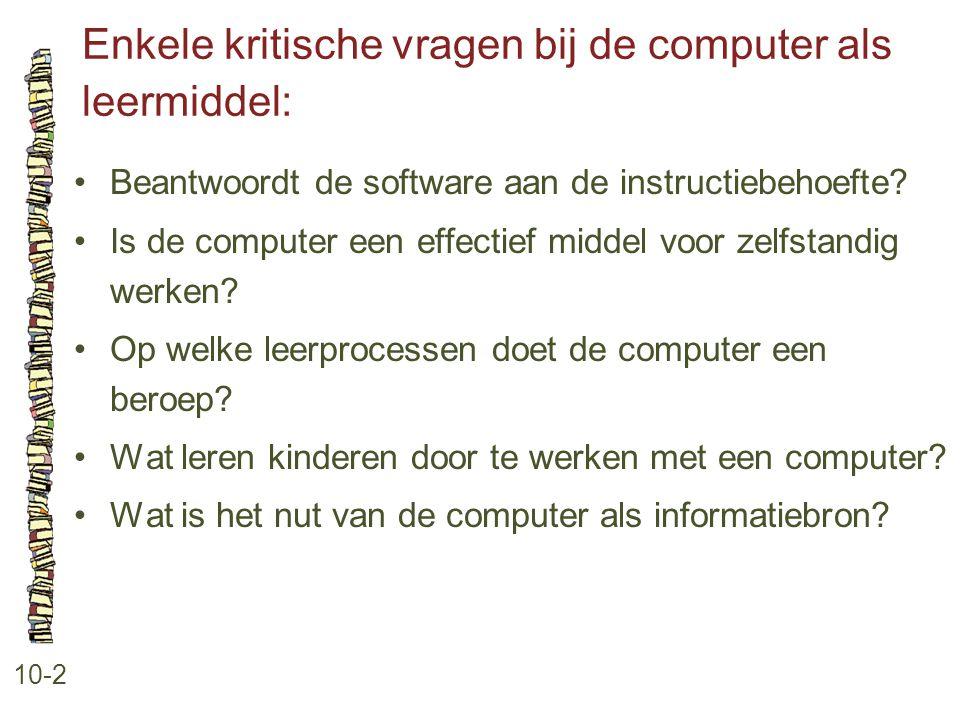 Enkele kritische vragen bij de computer als leermiddel: