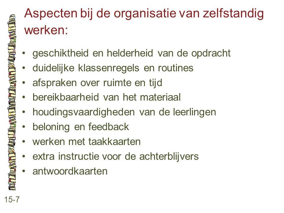 Aspecten bij de organisatie van zelfstandig werken:
