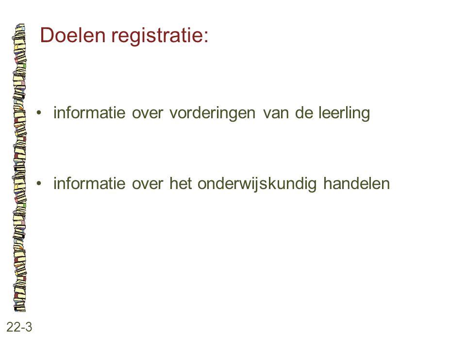 Doelen registratie: informatie over vorderingen van de leerling