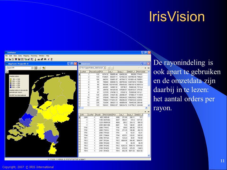 IrisVision De rayonindeling is ook apart te gebruiken