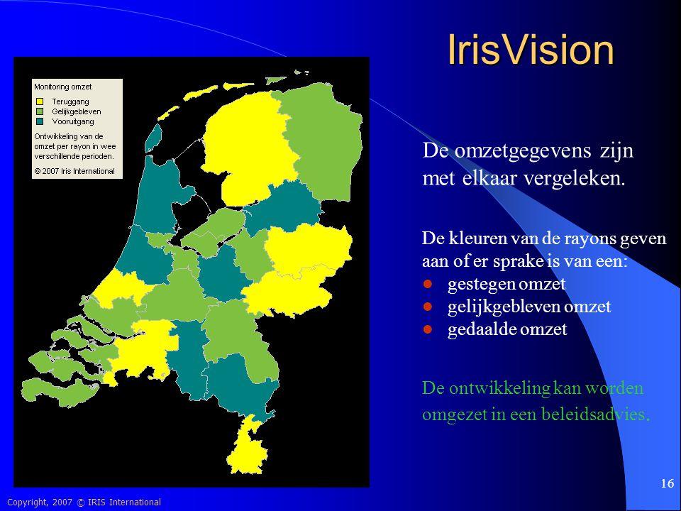 IrisVision De omzetgegevens zijn met elkaar vergeleken.