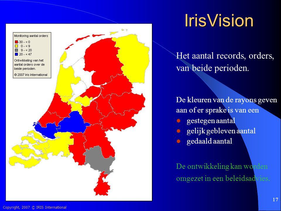 IrisVision Het aantal records, orders, van beide perioden.