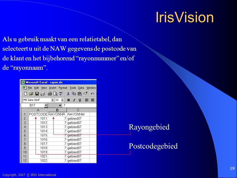 IrisVision Rayongebied Postcodegebied
