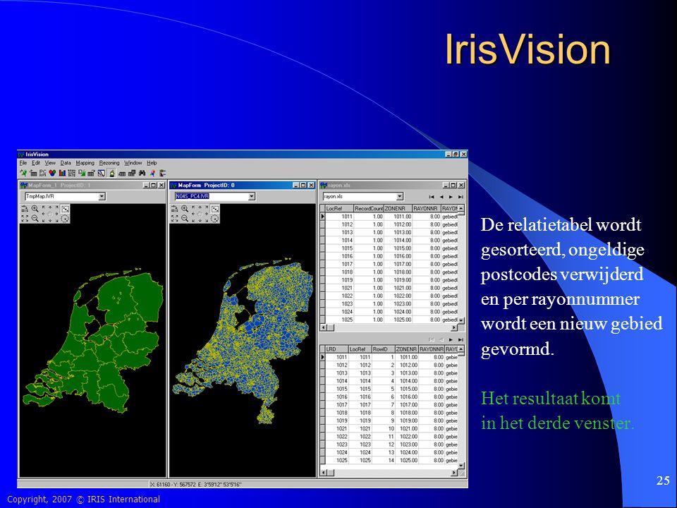 IrisVision De relatietabel wordt gesorteerd, ongeldige