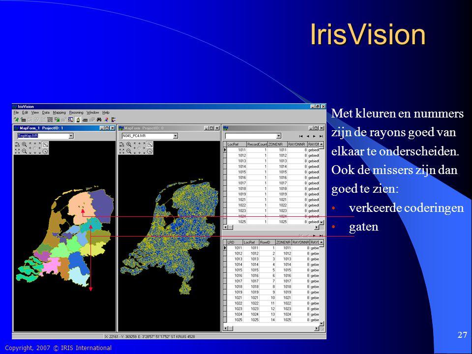 IrisVision Met kleuren en nummers zijn de rayons goed van