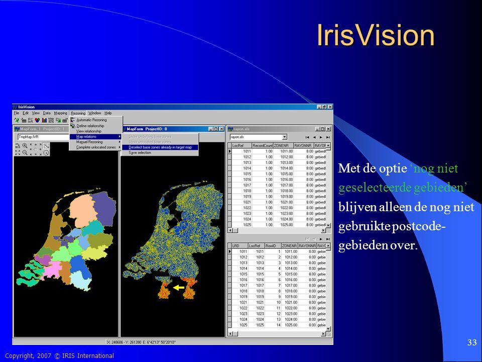 IrisVision Met de optie 'nog niet geselecteerde gebieden'