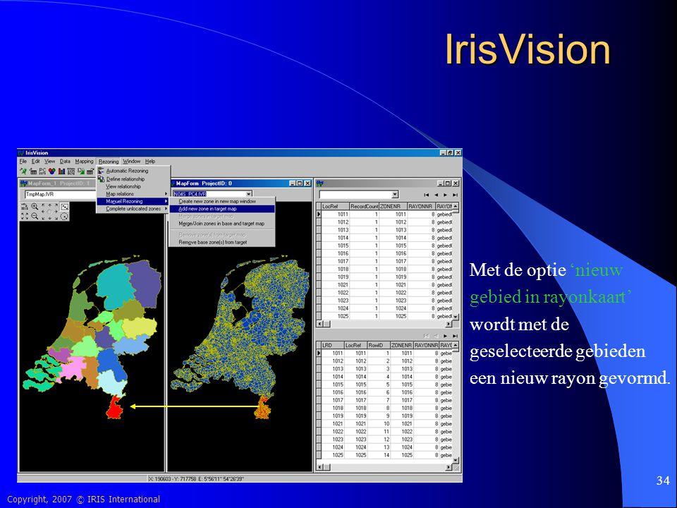 IrisVision Met de optie 'nieuw gebied in rayonkaart' wordt met de