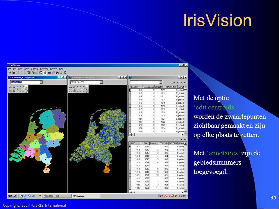 IrisVision Met de optie 'edit centroids' worden de zwaartepunten