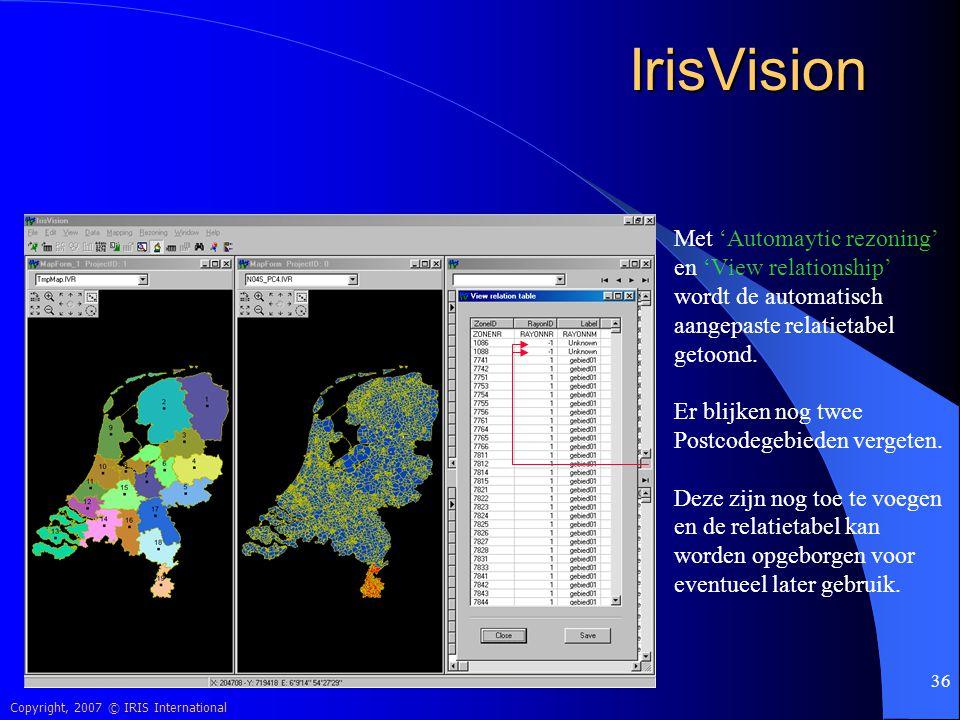IrisVision Met 'Automaytic rezoning' en 'View relationship'