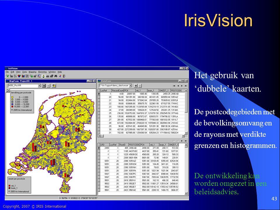 IrisVision Het gebruik van 'dubbele' kaarten. De postcodegebieden met