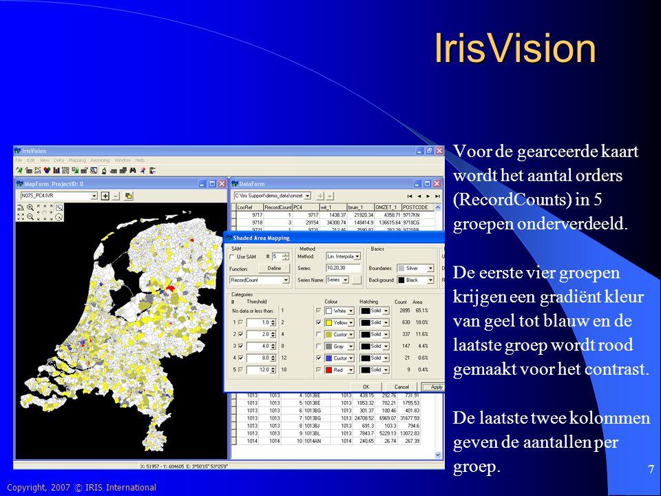 IrisVision Voor de gearceerde kaart wordt het aantal orders