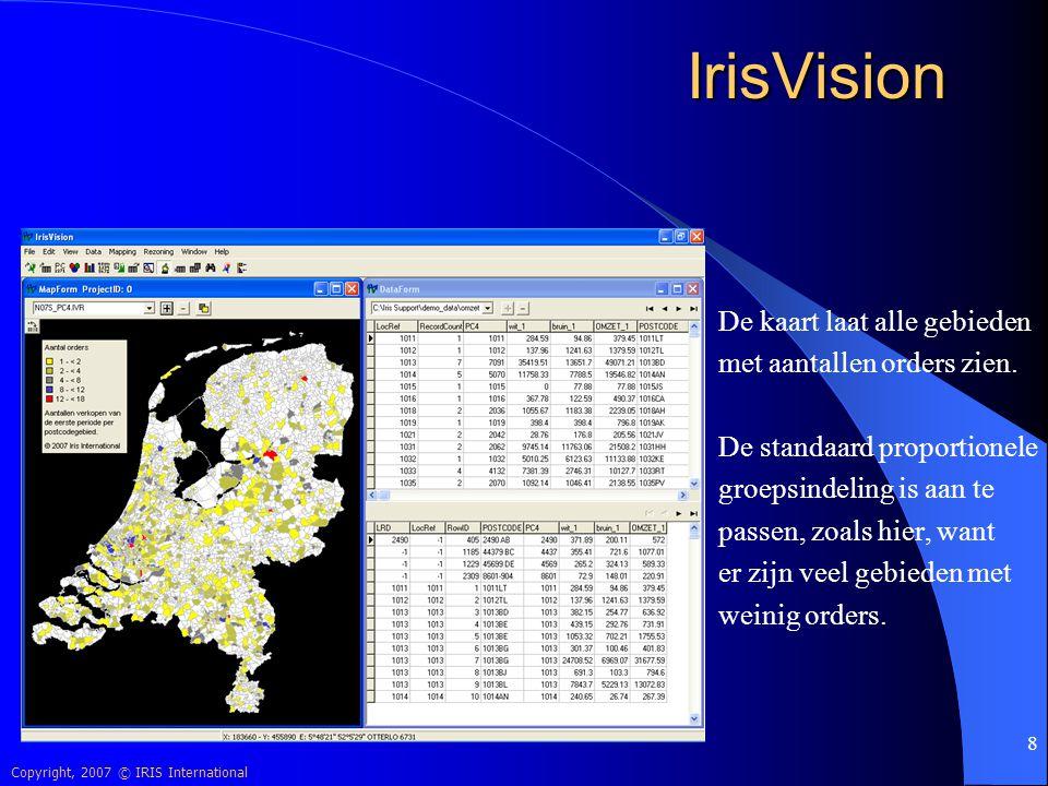 IrisVision De kaart laat alle gebieden met aantallen orders zien.