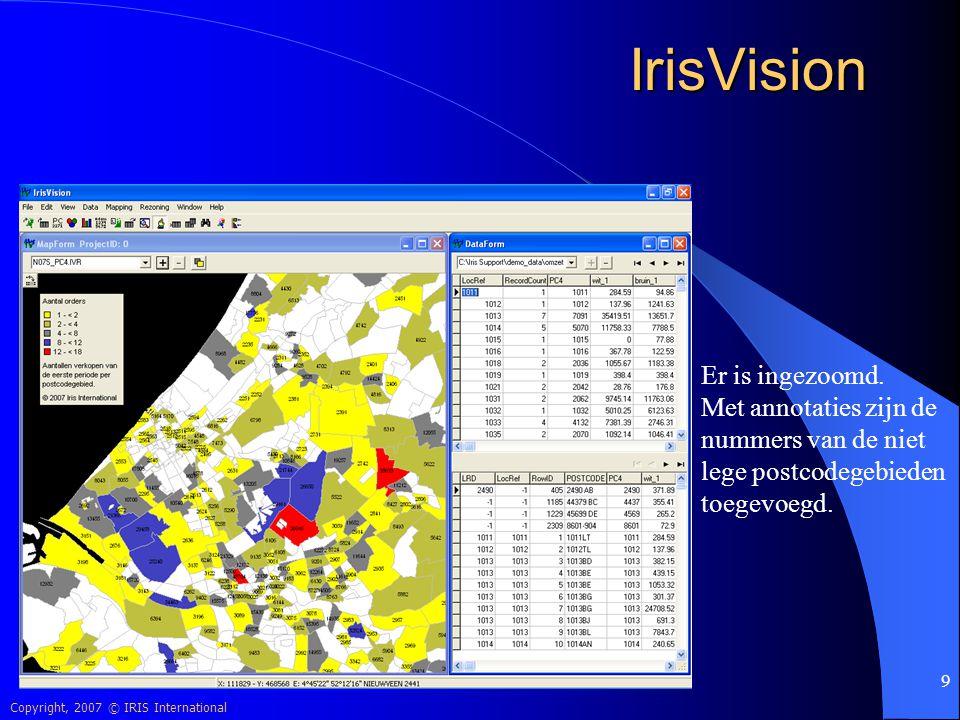 IrisVision Er is ingezoomd. Met annotaties zijn de nummers van de niet