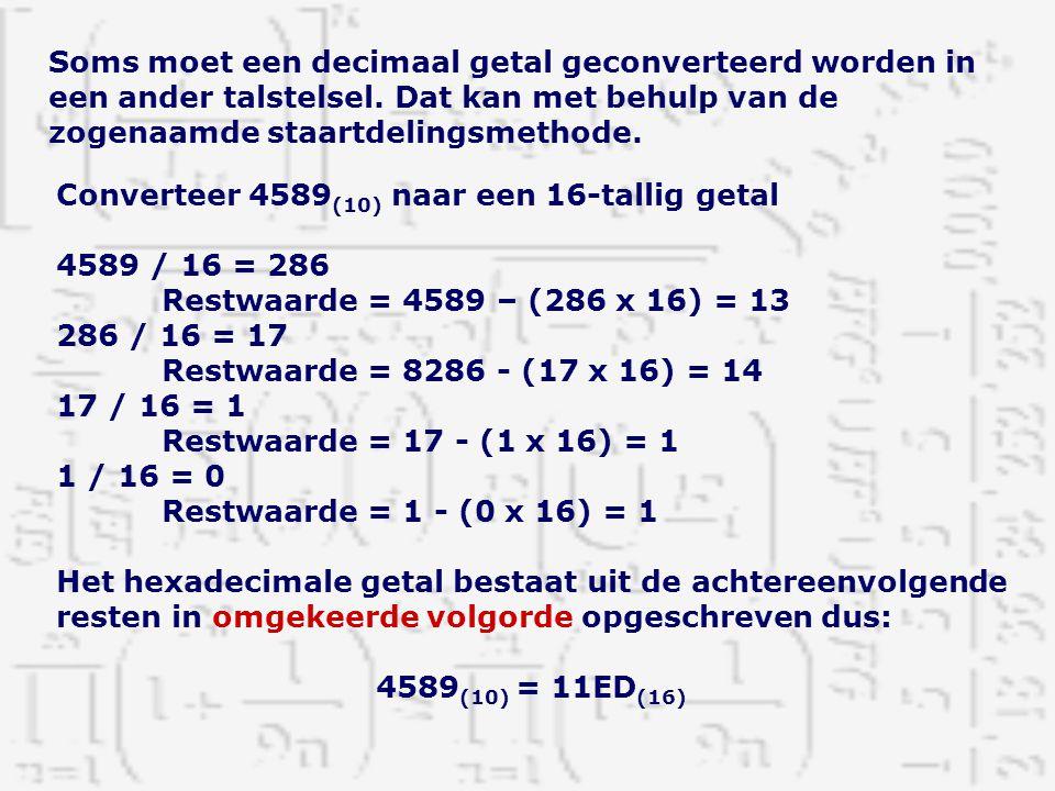 Soms moet een decimaal getal geconverteerd worden in een ander talstelsel. Dat kan met behulp van de zogenaamde staartdelingsmethode.
