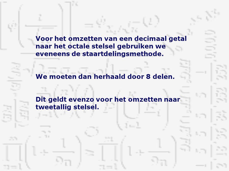 Voor het omzetten van een decimaal getal naar het octale stelsel gebruiken we eveneens de staartdelingsmethode.