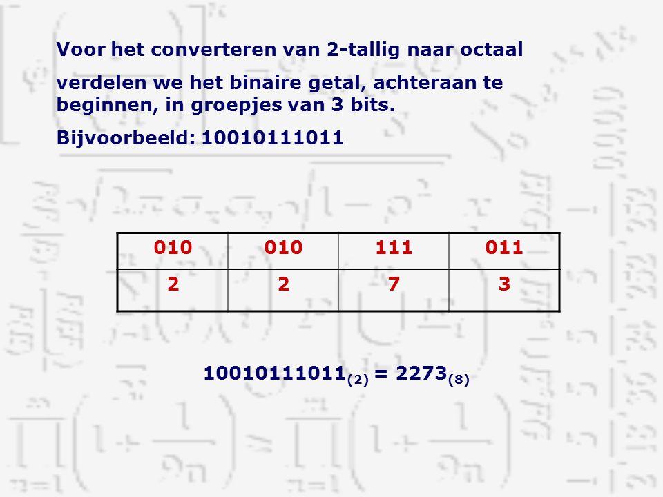 Voor het converteren van 2-tallig naar octaal