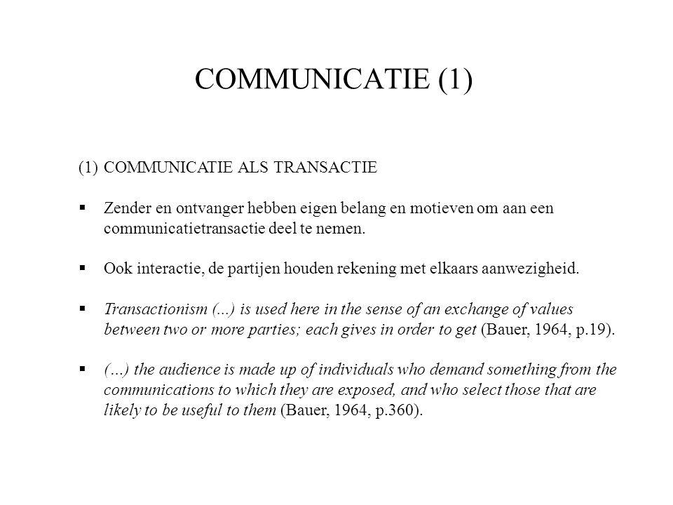 COMMUNICATIE (1) COMMUNICATIE ALS TRANSACTIE