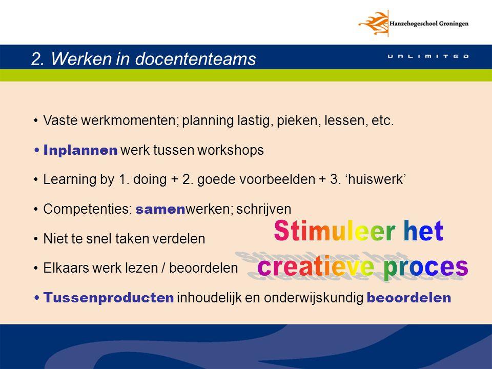 Stimuleer het creatieve proces 2. Werken in docententeams